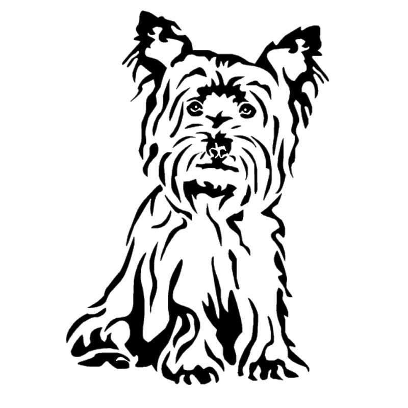11.2*16CM Yorkshire Terrier Dog Car Stickers Cute Vinyl Decal Car Styling Truck Decoration Black/Silver S1-0952 14cm 9cm fashion x wing star wars funny vinyl car styling decal car stickers black silver s6 3687
