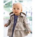 2016 New baby Girl warm autumn jackets Toddler Kids Girl Princess long hooded coat trench coat kids clothes