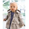 2016 Nueva niña otoño caliente chaquetas Toddler Kids Girl Princess largo trench coat niños ropa de abrigo con capucha