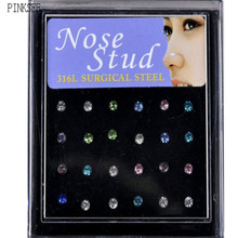 PINKSEE 24Pcs/Lot Surgical 316L Stainless Steel Rhinestone Nose Ring Bone Stud Body Piercing Jewelry Multicolor Wholesale