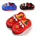 Модный бренд дизайн зимние мальчики девочки мультфильм автомобиля хлопка сандалии детский дом теплый крытый тапочки дети обувь 16O101