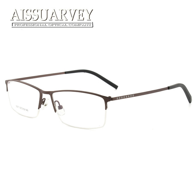 2c21ba663f Men Eyeglasses Frames Optical Fashion Simple Prescription Goggles Half Rim  Glasses Frame Brown Black Metal New
