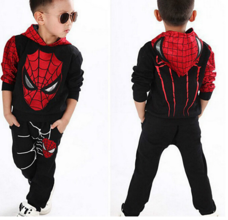 Spring Autumn Boys Hood Blazer Jackets For Kids Casual Spiderman Spiderboy Cosplay Catamite Sweater Children Costumes Coat