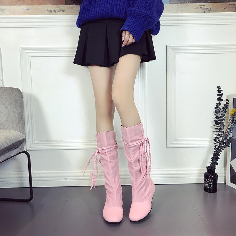 Fashion Women Boots High Heels Wowen Spring Autumn Tassels Shoes Girls Fringe Top Boots Big Size 41 42 43