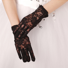 New Bridal Gloves with Finger 2016 White Black Short Cheap Wedding for Prom Evening One Size Wrist Glove Accessory