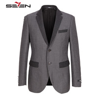 Seven7 Brand Men Casual Suits Fashion Trendy Blazer Turndown Collar Slim Fit 2 Buttons Front Polyester