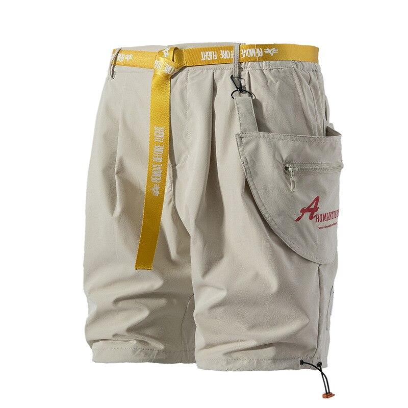 2019 Hip Hop Cargo Shorts Pocket Men Harajuku Short Joggers Streetwear Tatical Military Short Baggy Casual Yellow Ribbon Hipster in Casual Shorts from Men 39 s Clothing