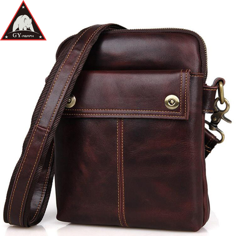 Anaph Men's Genuine Leather Shoulder Bag Top Quality Crossbody Messenger Bags For Mini iPad In Wine Cowhide Small Flaps flaps in oral
