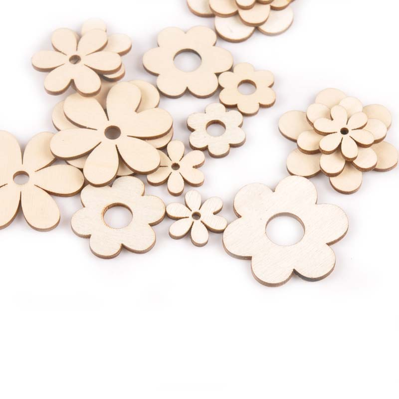 18Pcs 19-36mm Flower Shape Wood DIY Crafts Scrapbooking For Wooden Ornaments Arts Handmade Home Decor Embellishments M2170
