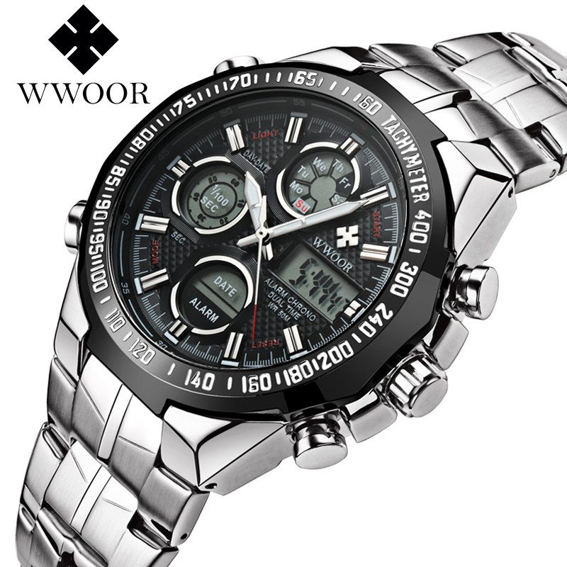Mens Watches Top Brand Luxury Stainless Steel Men Watch WWOOR Quartz Wrist Watches Male Waterproof Sport Clock Relogio Masculino top brand luxury watch men full stainless steel military sport watches waterproof quartz clock man wrist watch relogio masculino