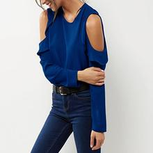 Summer Women Blouses Black Blue Chiffon Tops Cold Shoulder O-Neck Long Sleeve Casual Female Shirts Plus Size S-6XL WS448X blue cold shoulder long sleeves lace blouses