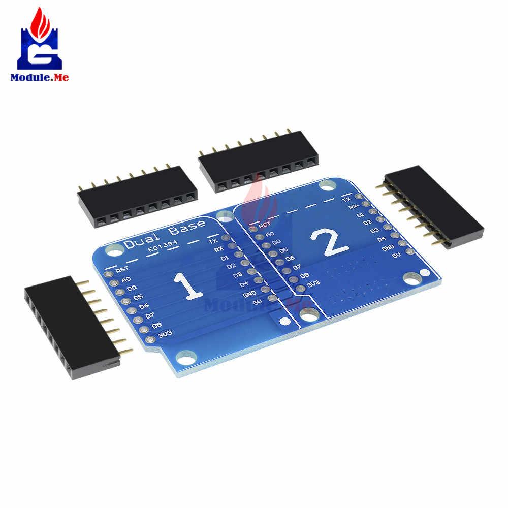 Wemos D1 ミニダブルソケットデュアルベースシールドモジュール D1 ミニ nodemcu ESP8266 開発アダプタベースボード 3.3 i/o