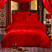 Luxury Dragon and Phoenix Embroidered 4PCS Bedding Set Red Wedding Bed Linens Tencel Satin Sheet Jacquard Bedclothes