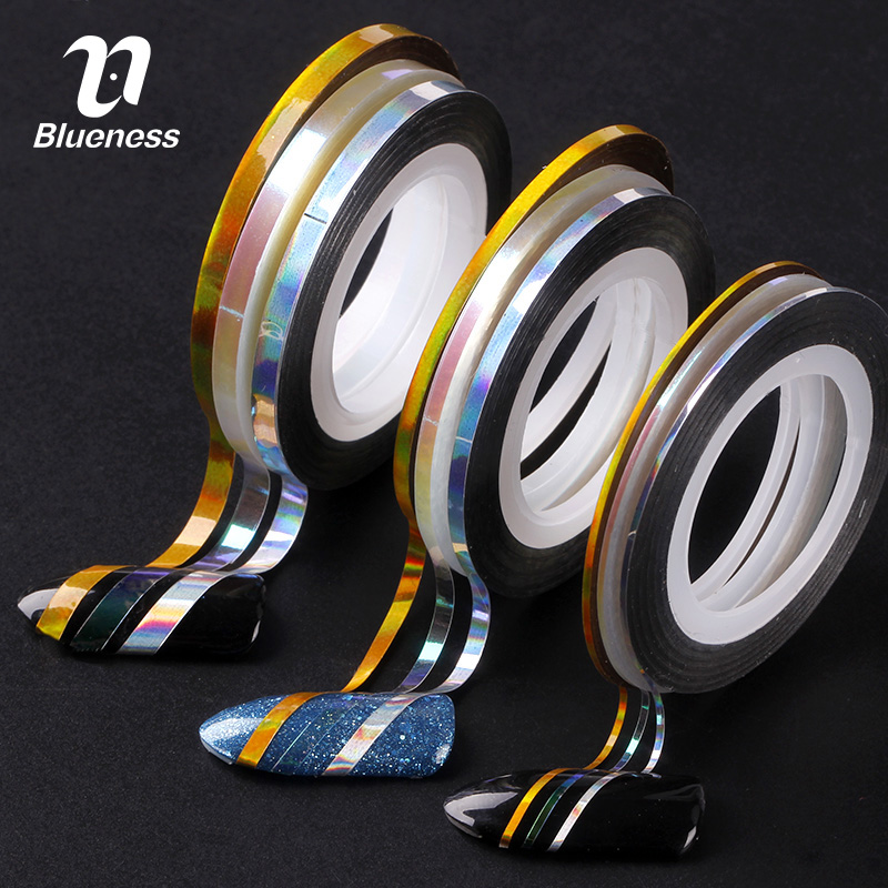 Blueness 9PCS/Pack Mixed Colors Laser Nail Rolls Striping Tape Line DIY Nail Art Tips Decoration Sticker Nails Care JH509 blueness 1 set mixed 12 colors laser nail glitter sequins diy manicure colorful 3d nail decoration studs nail art sticker zp333