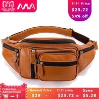 MVA Multi function Money Belt Bag Waist Fanny Pack Leg Waist Pouch Bags Hip Men's Waists Bags Messenger Bag Men Genuine Leather