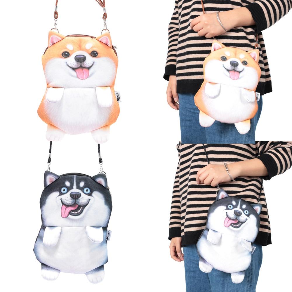 3D Huskies Cartoon Animal Prints Messenger Bag Ladies Messenger Bag Casual Wallet Handbag Boy Girl Chain Shoulder Bag