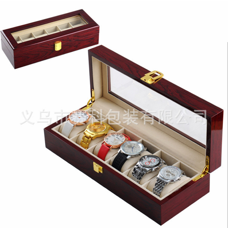 High Quality Wooden box 6 slots Watch Watches Elegant Luxury Jewelry Display Storage organized Caixa para relogio
