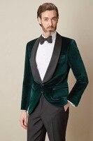 Fashion 2018 Brand New Men Suit Bespoke Terno Tuxedos Dark Green Velvet Shawl Collar One Button Men Suits (Jacket+Pants+tie)