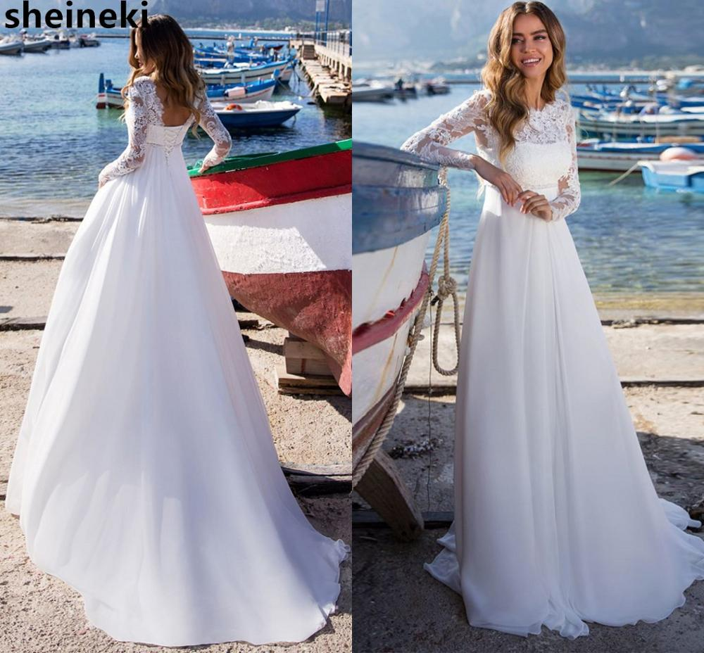 2019 Chiffon Top Lace Long Sleeves Beach Wedding Dress Backless Boho Wedding Dresses Maternity Bridal Gowns Country Bride Dress