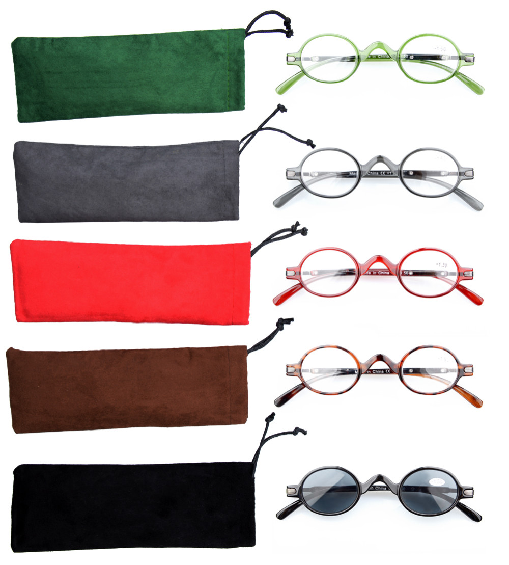 e865d8bd22 R077 Mix 5-pack Eyekepper Spring Temple Vintage Mini Small Oval Round Reading  Glasses include Sun Readers +0.00---+4.00