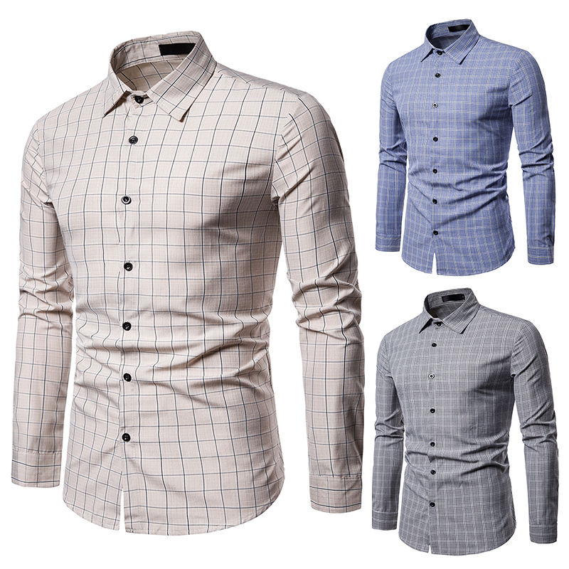 European Size 2019 Men 39 S Autumn Casual Fashion Lapel Plaid Long Sleeved Shirt Business Slim Men 39 S Party Shirt in Casual Shirts from Men 39 s Clothing