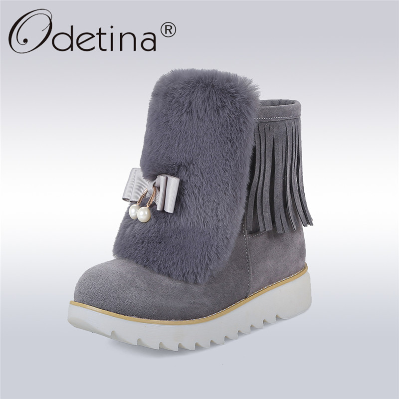 Odetina 2017 New Fashion Non-slip Platform Snow Boots Women Ankle Boots Bowknot Fringe Winter Warm Shoes Bow Tie Big Size 34-44 2017 sales of the most popular hot winter boots women ug australia boots women slip warm women s boots in the snow size 34 44