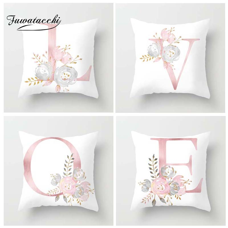 Fuwatacchi A-Z English Alphabet Style Cushion Cover Letter Rose Printed Pillow Pink White Decorative Pillows For Sofa Car