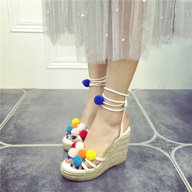 75043ccb86 Candy Color Pompom Wedge Sandals Braid Platform High Heel Lace Up Gladiator  Sandals Women Pumps Fringe Summer Ladies Shoes Woman-in Women's Sandals  from ...
