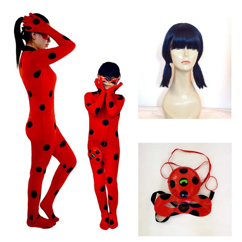 2018 New Adult Child Size Red Lady Bug Costumes for Girls Kids LadyBug Cosplay Jumpsuit eye mask bag Spandex Lycra Zentai Suit