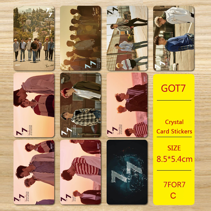 Youpop KPOP GOT7 New Album 7FOR7 You Are JB MARK JACKSON Photo Version For Student Card Bus PVC Crystal Card Stickers