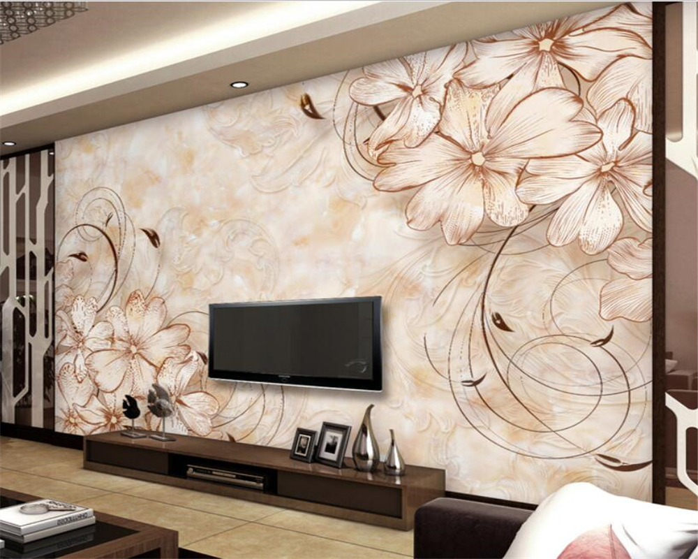 photo wallpaper European high quality pattern living room marble TV ...