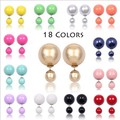 New Design Fashion Bright Colorful Shiny Gem Double Sided Stud Earring Charm Ball Earring Jewelry For Women Ohrringe 2015