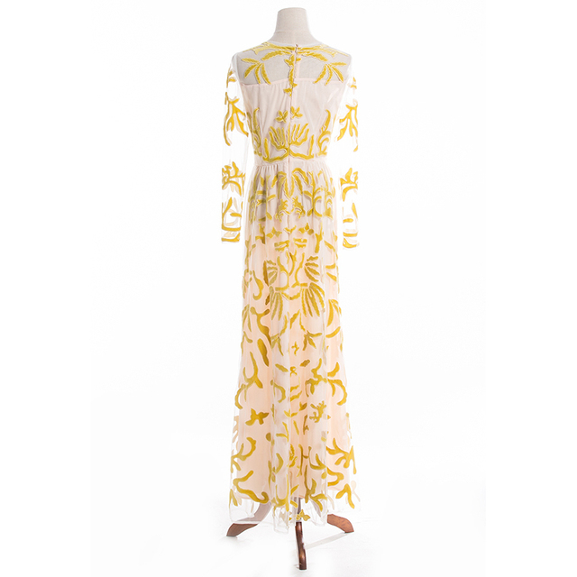 Retro Gold Embroideried Mesh Party Long Dress
