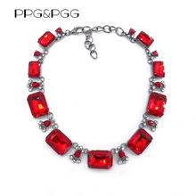 PPG&PGG 4 colours New Women Luxury Bijoux Red Glass Rhinestone Choker Bib Collar Fashion Jewelry Lady Choker Necklaces