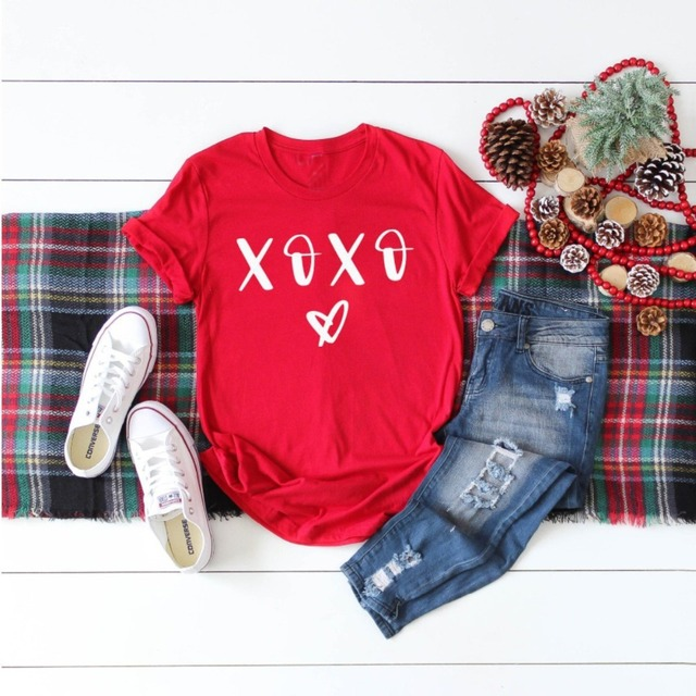 c8fc5503423d XOXO heart graphic women fashion unisex cotton red grunge tumblr t-shirt  grunge aesthetic funny girl Valentine's Day tee art top
