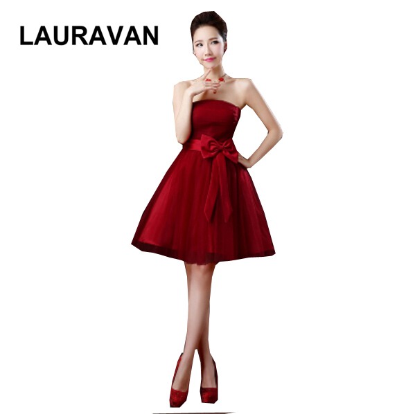 Robe De Soiree Elegant Wine Red Brides Maids Party Dresses 2019 For Teen Girls Bridemaids Dress Ball Gown Lace Up For Weddings