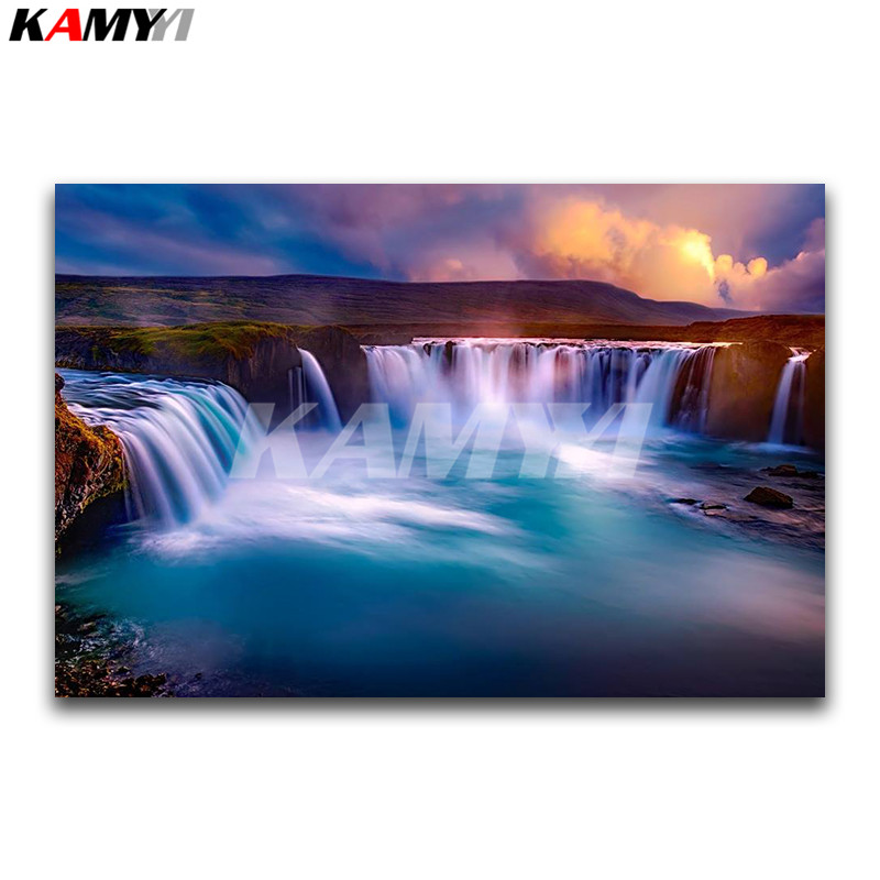 Full Square diamante bordado Cruz puntada paisaje cuadrado diamante mosaico paisaje 3D DIY diamante pintura cascada