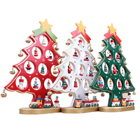XMAS Gift 1pc Mini Table XMAS Trees Decoration Wood Christmas Tree With Ornament For X Mas