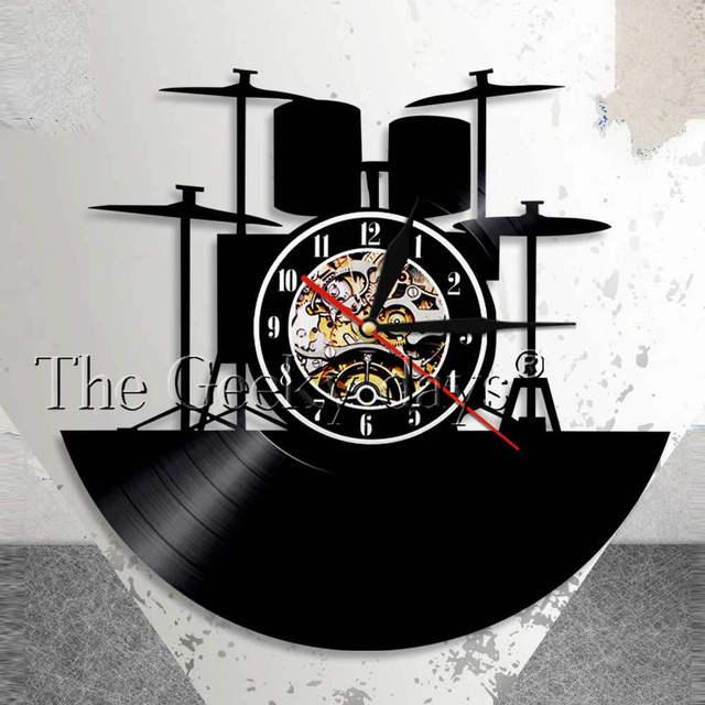 Drummer Drum Kit Wall Art Wall Clock Rock n Roll Vinyl Record Wall ...