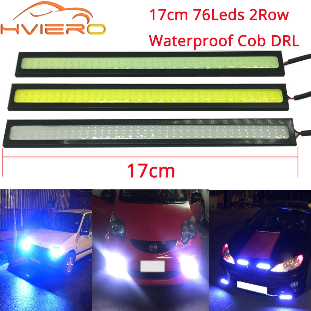 17CM 2Row 76 Leds White Blue COB DRL Daytime Running Lights DC 12V External Waterproof Parking Fog Bar Lamp Motorcycle Car Led
