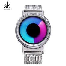 SK 2017 Unique Hidden Crown Unisex Watches Luminous Colorful Dial Stainless Steel Mesh Band Quartz Wristwatch relogio masculino