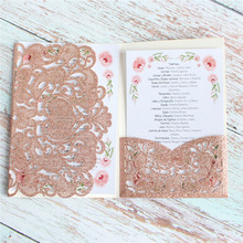 Cards invitations wedding brithday engagement floral gift card pocket customiable 50pcs