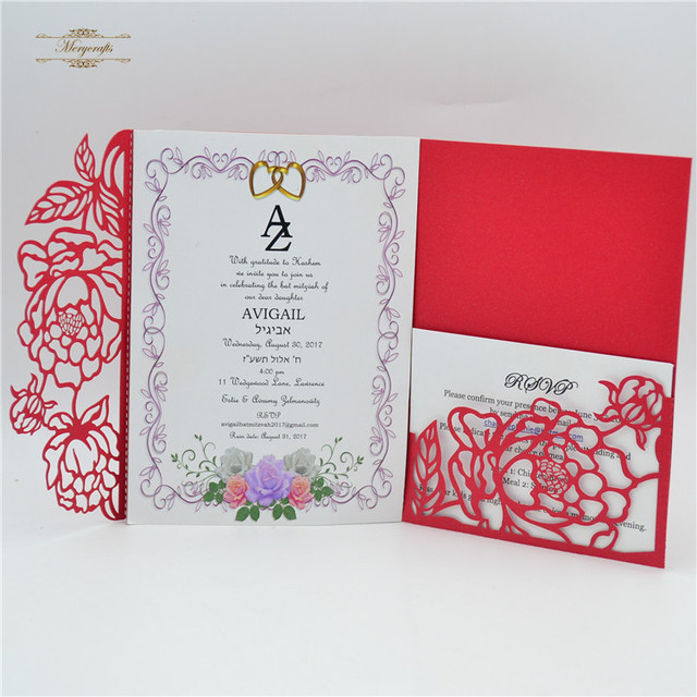 morden design elegant pocket fold invitations new arrives 2018 in