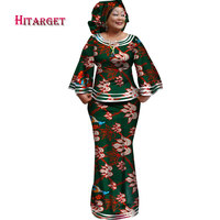 Hitarget 2018 New African Loose Kanga Dresses for Women Dashiki Traditional Cotton Top Skirt Set of 3 pieces Clothing WY2372