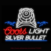 Neon Sign Coors Light The Silver Bullet Real Glass Tube Vintage Signs Handcrafted Neon Signs For