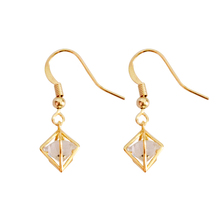 2019 Fashion Jewellery Zircon Classic  Golden Color Copper Geometric For Women Drop Earrings 3092