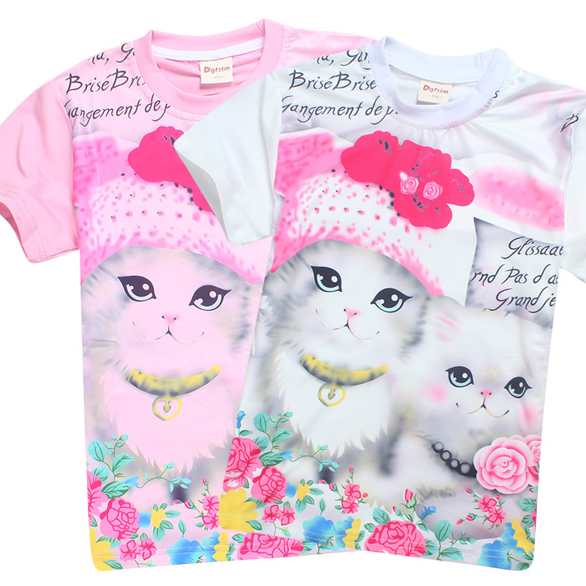 Z&Y 4-9Years Girls Top Children Shirt Princess Kitty Marie Aristocats Cat Birthday Child Pussy Custom Shirt Kids Short Sleeves
