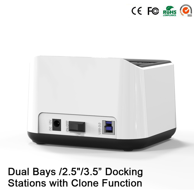 "6TB Dual 2-Bay SATA 2.5""/3.5"" HDD SSD Docking Station USB 3.0 to SATA HDD Duplicator High Speed 5Gbps Duplicator Support"