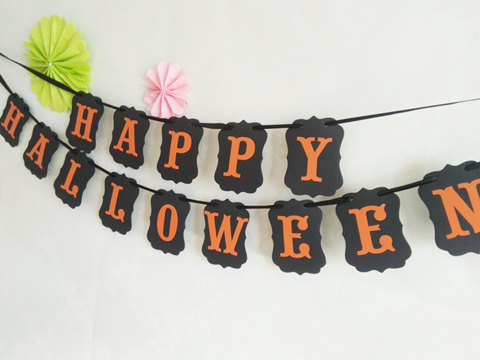 1set kraft paper 3m happy halloween decoration pennant bunting party decoration photo prop banner flag halloween