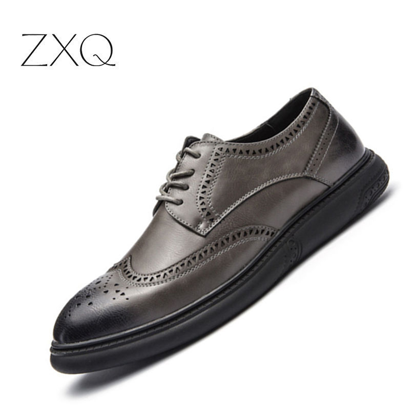 3bf550775de Nouvelle Chaussures De Hommes Oxford Appartements Brogue Arrivée Black gray  Pour Luxe D affaires Italien Formelle Cuir Marque En Britannique TlFc1JK